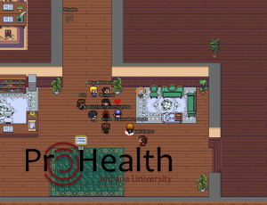 Eleven avatars linger in a shared virtual space. The ProHealth Logo is visible at the bottom of the screen, and the virtual space looks like an office setting with wooden floors and bookshelves.